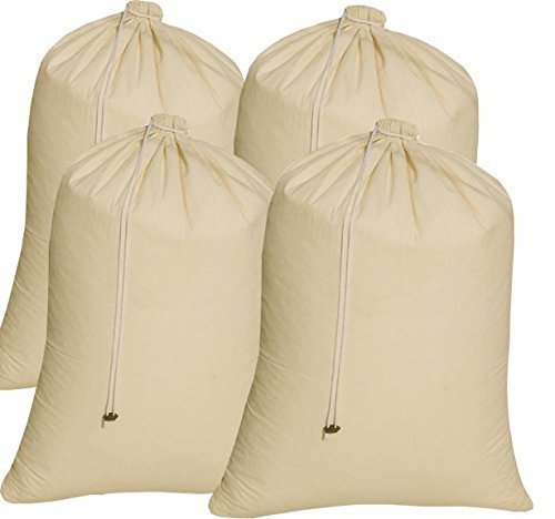 4Pack Cotton laundry bag extra large heavy duty,easy to carry,eco friendly,cotton laundry bags with drawstring,cotton laundry bags for travel,Cotton Santa Claus Christmas Gift,Size 24x36inch Natural