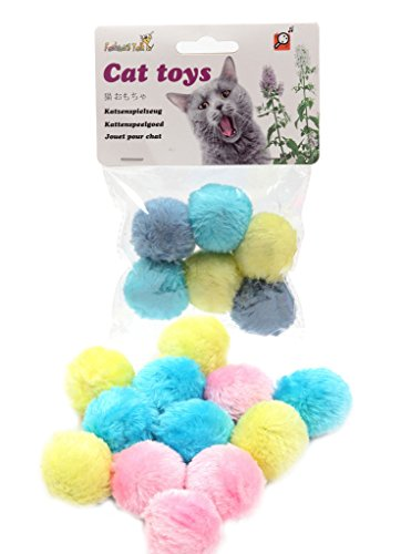 Fuzzy Balls Cat Toys - Fashion's Talk Cat Toys Furry Rattle Ball for Kitty