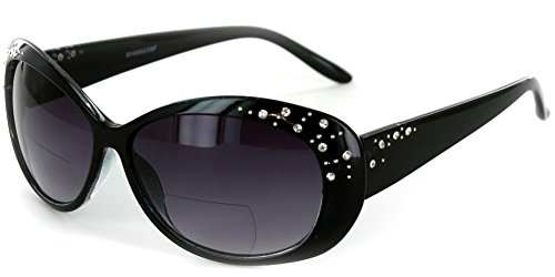 """Sea Dreams"" Butterfly Reading Sunglasses with Interior Bifocal and Crystals for Women (Black +2.50)"
