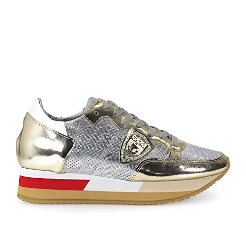 PHILLIPPE MODEL JOSEPHINE TROPEZ SILVER/GOLD LEATHER SNEAKER