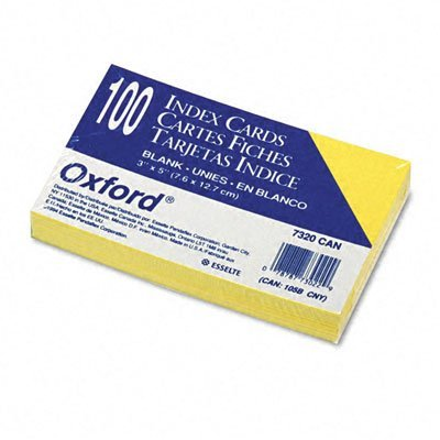 Unruled Index Cards 3 x 5 Canary 100/Pack