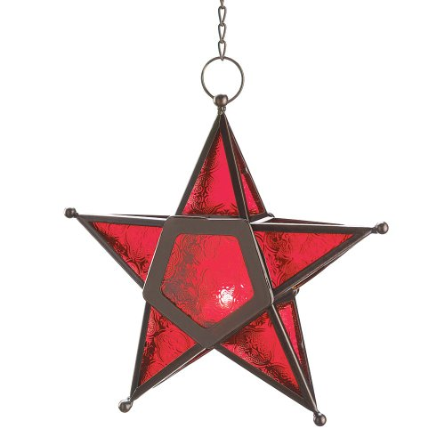 - VERDUGO GIFT CO Glass Star Lantern Hanging Candle Holder Christmas, Red