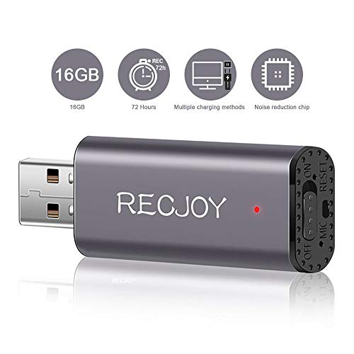 Mini Voice Recorder for Lectures Meetings RECJOY,16GB Digital Audio Recorder 72Hours Recording Device,Rechargeable,Metal Case (Voice Recorder Speech To Text)