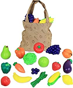 Click N' Play Pretend Play Fruit & Vegetable & CanvasTote Bag for Kids Play (Set of 17)