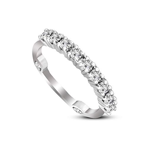 Friendly Diamonds 1/2 ct Lab Grown Half Eternity Diamond Ring For Women 925S Sterling Silver HI-SI1-SI2 Quality Round Cut Eternity Diamond Band Ring For Women