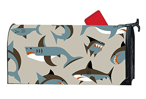 (MAILL Brown Sharks Welcome Spring Magnetic Mailbox Cover Floral Puppy 6.5x19 inches)