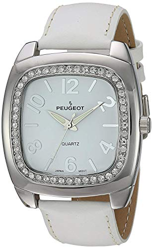 Peugeot Women's 'Swarovski Crystal Bezel' Quartz Metal and Leather Dress Watch, Color:White (Model: 310WT)
