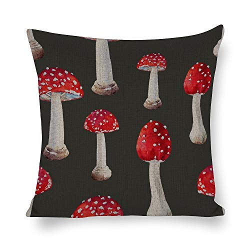 UCLIPERS Decorative Throw Pillow Covers Set, Watercolor Mushroom Pattern Cotton Linen Cushion Covers 18 X 18 Inch]()