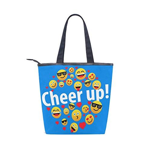 Handbag Canvas MyDaily Shoulder Bag Womens Emoji Tote Heart Up Funny Cheer PwSqnTg