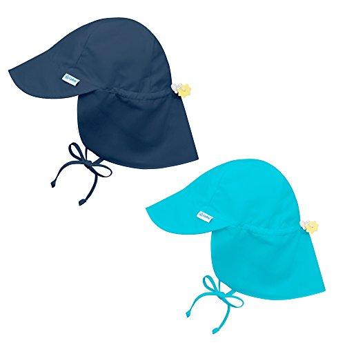 i play. 2PK UPF 50+ Sun Protection Flap Sun Hats Baseball Brim Hat-0-6 Mths-Aqua