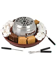 Nostalgia LSM400 Indoor Electric Stainless Steel S'mores Maker with 4 Lazy Susan Compartment Trays for Graham ers, Chocolate, Marshmallows and 4 Roasting Forks