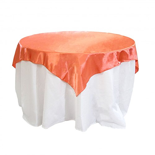 Koyal Wholesale Square Satin Overlay Table Cover, 90 by 90-Inch, Coral ()