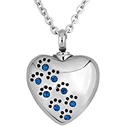 CharmSStory Blue Pet Paw Heart Urn Necklace for Ashes Cremation Keepsake Dog Cat Memorial Pendant Necklaces