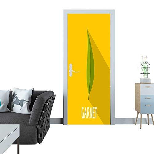 Anmaseven Glass Door Sticker Decals Garnet Leaf icon Flat style1 3D Door Sticker 35x83(90x210 cm)