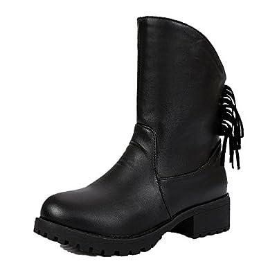510455d4644 AgeeMi Shoes Femme PU Cuir Tire Rond à Talon Bas Couleur Unie Haut Bas  Bottes