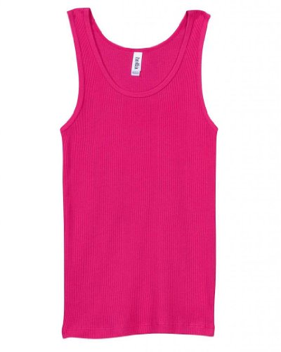 Bella Ladies 100% Cotton Rib Tank Top Tee Shirt - Fushia, Ladies Medium