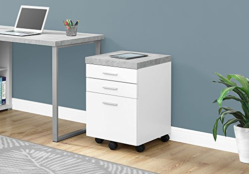 Monarch Specialties 3 Drawer File Cabinet - Filing Cabinet (White) (3 Drawer File Cabinets For The Home)