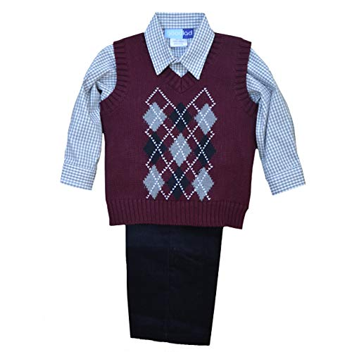 - Good Lad Toddler & 4/7 Boys Three Piece Burgundy Argyles Sweater Vest Set (2)