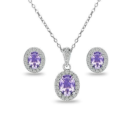 Sterling Silver Amethyst and White Topaz Oval Halo Necklace and Stud Earrings Set