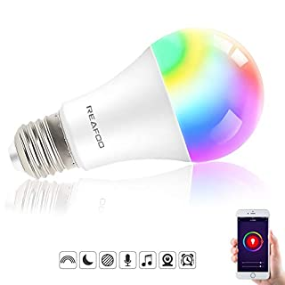 Smart Light Bulb, REAFOO Smart WiFi LED Light Bulb with Daylight Soft White Light 2700k-6500k, Dimmable E26 Color Changing Lights for Room Stage Party with Timer Remote, Work with Alexa Google Home…