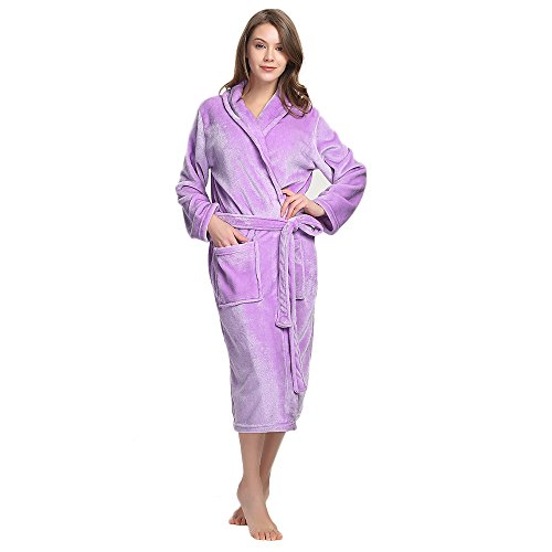 M&M Mymoon Womens Fleece Robe Soft Plush Bathrobe Long Thicken Warm Kimono Shawl Collar One Piece Homewear(L/XL,Lilac)