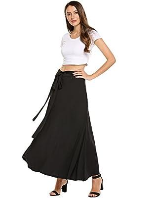 Zeagoo Womens Skirts Boho Elastic Maxi Long Solid Wrap Around Bow Tie Skirt
