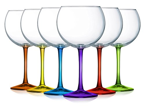 Balloon Wine Glasses with colored Accent- Set of -