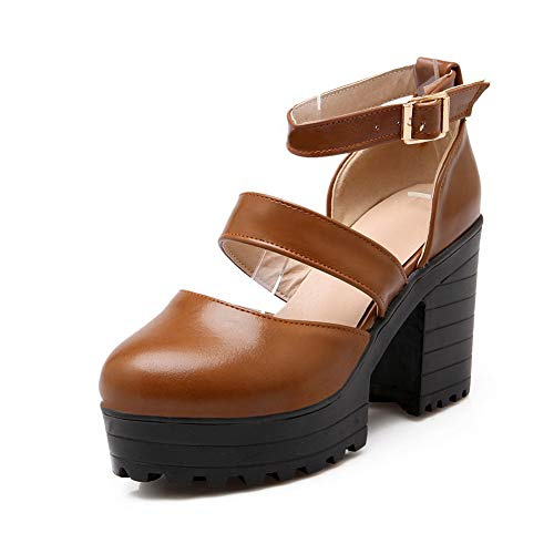 Shoes Womens BalaMasa Brown APL10552 Pumps Platform Casual Solid Urethane aYRqTwO