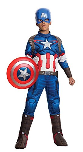 [Deluxe Retro Captain America with Shield Child Costume - Medium] (Captain America Boys Costumes)