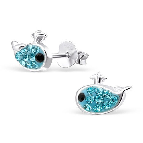 Girls Whale Crystal Ear Studs 925 Sterling Silver