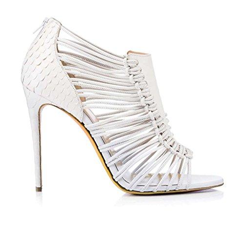 SHEO sandalias de tacón alto Señoras Sexy Zapatillas Sandalias de tacón alto Blanco Sandalias abiertas Blanco