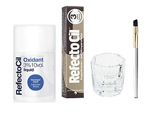 REFECTOCIL COLOR KIT- Natural Brown Cream Hair Dye+ Liquid Oxidant 3% 3.38 oz + Mixing Brush + Mixing - Color Hair Eyes Brown