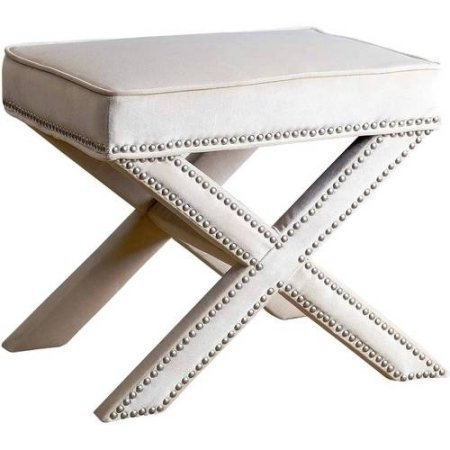 Devon & Claire Sturdy Micro-suede Fabric Cream Preston Nailhead Trim Ottoman Bench