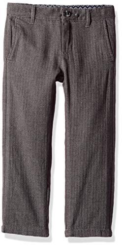 Gymboree Boys' Big Flat Front Trouser Pant, Grey Herringbone, 10