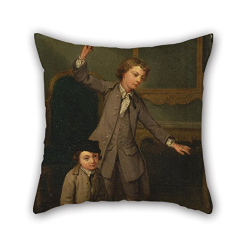 Slimmingpiggy Pillowcase Of Oil Painting Joseph Francis Nollekens - Portrait Of Two Boys, Probably Joseph And John Joseph Nollekens 16 X 16 Inches / 40 By 40 Cm,best Fit For Family,christmas,living