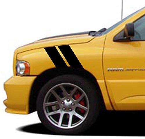 - Clausen's World 4 Inch Fender Bars Vinyl Racing Stripes Decals, Fits Dodge Ram Pickup Truck, Driver Side, Black Matte
