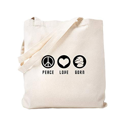 - CafePress Peace Love Gorn Natural Canvas Tote Bag, Cloth Shopping Bag