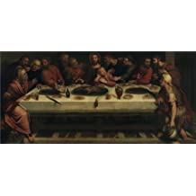 Oil painting 'The Last Supper, 1595 By Adam van Noort' printing on high quality polyster Canvas , 16x34 inch / 41x86 cm ,the best Wall art decor and Home gallery art and Gifts is this Beautiful Art Decorative Prints on Canvas