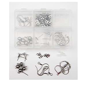 ALL in ONE Earring Making Kit: Stainless Steel Hypo-allergenic Earring Hooks, Flat Pad Findings, Leverback Findings, Half Ball Earring Stud Pins, Earring Backs (Hooks Kit)