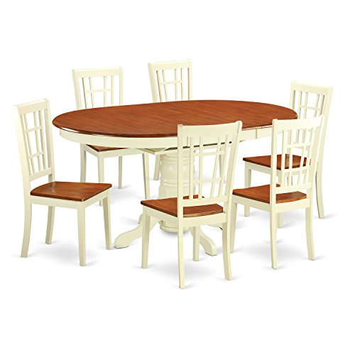 East West Furniture KENI7-WHI-W 7 Piece Dining Table and 6 Wooden Kitchen Chairs Set