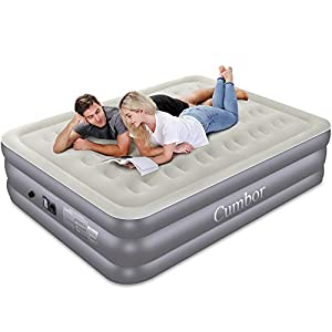 Cumbor Queen Air Mattress with Built-in Pump, Luxury Queen Size Inflatable Airbed with Air Coil Technology – Elevated Raised Double High Air Mattress, 80 x 60 x 18 inches, Grey