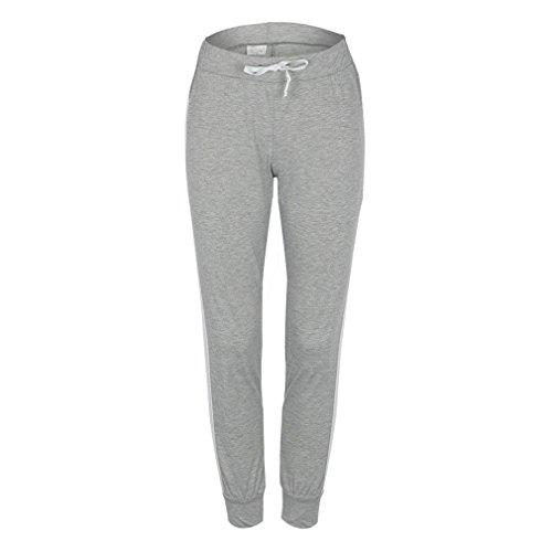 Yying Slim Leggings Deportivos Rayado Pantalones Cintura para Moda Grandes Cordón Pantalones Gris Alta Fit Pantalón Tallas Aptitud Cintura Elástico Casual Mujer con aqra6
