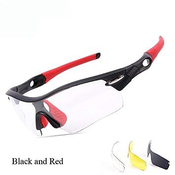 Nejosf Gafas polarizadas fotocromáticas de Deportes Ciclismo Gafas Accesorios para Ciclistas de Bicicleta Gafas de Sol Ciclismo Unisex Black and Red: ...