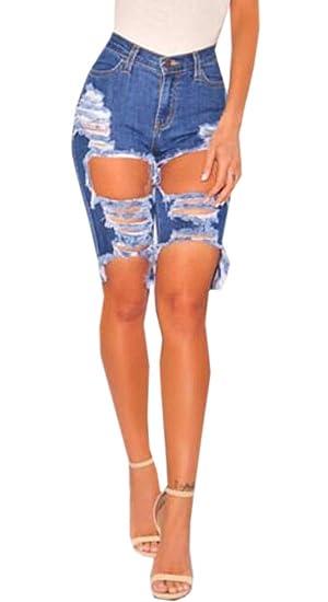 f89f7ec92 OTW Women's Ripped Distressed Stretchy Knee Length High Waisted Denim  Shorts Jeans 1 XXS