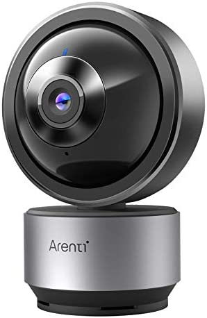 Securtiy Camera Indoor 2K WiFi IP Camera, Compatible with Alexa and Google Assistant, Private Mode, AI Detection, Noise Detection, Two-Way Audio, Night Vision, Black Metal case