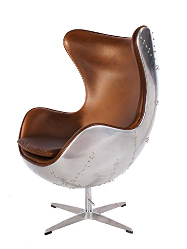 LazyBuddy Hand-Hammered Aviator Aluminum Mid Century Modern Classic Arne Jacobsen Style Egg Replica Lounge Chair with Premium Vintage Caramel Brown PU Leather and Stainless Steel Frame