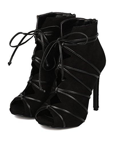 Stiletto Bootie GI31 Out Faux Suede Cut Wild Black Suede Toe Diva Wraparound Faux Women Peep zwqvPOx
