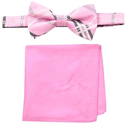 Susan Komen Breast Cancer (Susan G. Komen Men's Plaid Bowtie and Pocket Square, Pink, One Size)