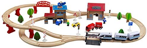 XIALIUXIA 88Pcs Wooden Train Set ToyDouble-Side Train Tracks/Magnetic Train Cars and Wooden Bridge Railway Set for Toddlers Toy Gift for 3+ Years Old Boys and Girls