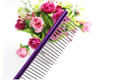 Glumes 19cm Stainless Steel Comb Pet Grooming Brush Anti-Static Hair Shedding Comb for Long Hair Dog & Cat with Different Spaced Rounded Teeth,Wide Trimmer Comb by Glumes (Image #2)
